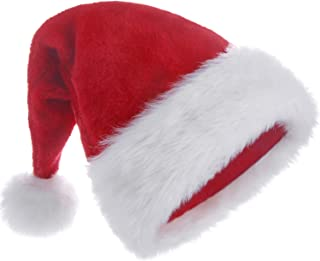 HUICOCY Santa Hat,Unisex Velvet Fabric Christmas Hat with Comfort Lining&Plush Brim Red