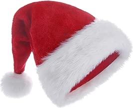 HUICOCY Santa Hat,Unisex Velvet Fabric Christmas Hat with Comfort Lining&Plush Brim Red