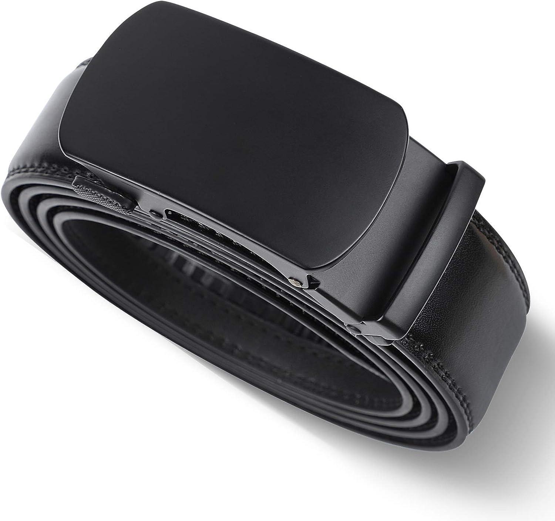 LAKIDAY Cinturon Cuero Hombre, Cinturones Automatico Negro Sencillo y Clásico 35mm