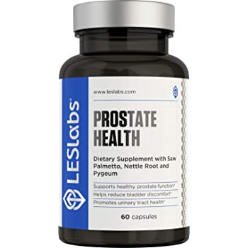 LES Labs Prostate Health, Prostate Supplement for Bladder Discomfort & Urinary Tract Health, Fewer Bathroom Visits with Saw Palmetto, Pygeum, Beta Sitosterol, 60 Capsules
