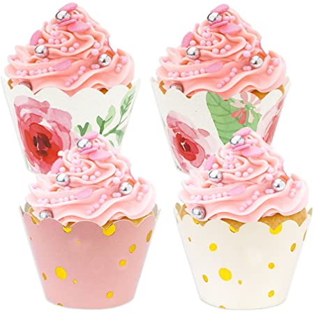 48pcs Floral Rose Gold Cupcake Wrappers, Baby Shower Decorations for Girl, Pink and Gold Party Supplies for Wedding Party Birthday Decorations