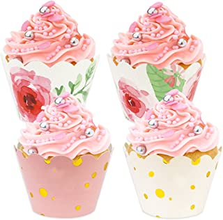 BAKHUK 48pcs Floral Rose Gold Cupcake Wrappers, Baby Shower Decorations for Girl, Pink and Gold Party Supplies for Wedding Party Birthday Decorations
