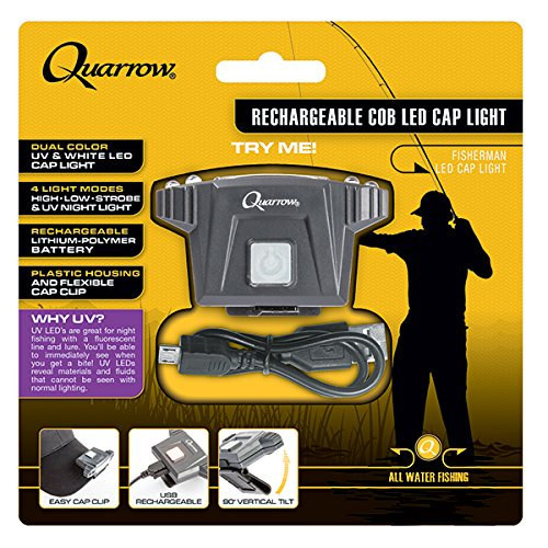 Quarrow Rechargeable COB LED Caplight | Adjustable Hat Light with UV LEDs & USB Cable
