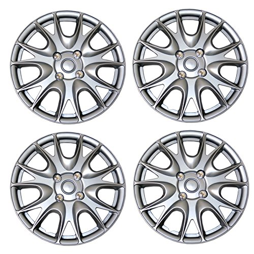 Tuningpros WC3-15-3533-S - Pack of 4 Hubcaps - 15-Inches Style Snap-On (Pop-On) Type Metallic Silver Wheel Covers Hub-caps