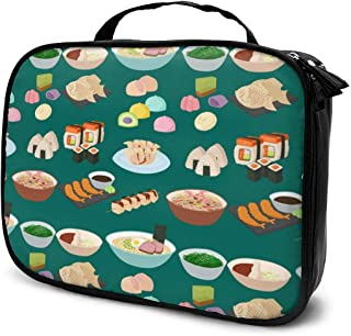 Sushi Japanese Cuisine Traditional Food Makeup Train Cases Professional Travel Makeup Bag Cosmetic Cases Organizer Portable Storage Bag For Cosmetics Makeup Brushes Toiletry Travel Accessories