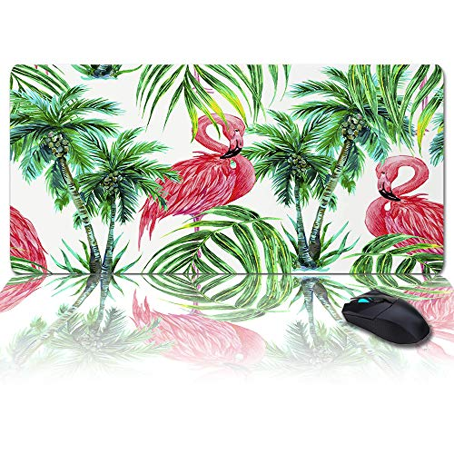 Desk Pad Office Desk Mat 35x15INCH Oversized Soft Writing Pad, Pink Flamingos and Green Palm Tree Waterproof Desk Protector Office Desk Mat,Gamer Mouse Keyboard Pad