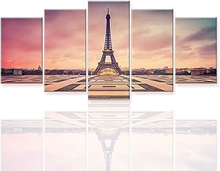 Piy Painting 5 Piezas Cuadro sobre Lienzo, París La Torre Eiffel Símbolo Romántico Imagen Canvas Wall Art Listo para Colgar Impresión de la Lona Pintura Aniversario 60x125cm