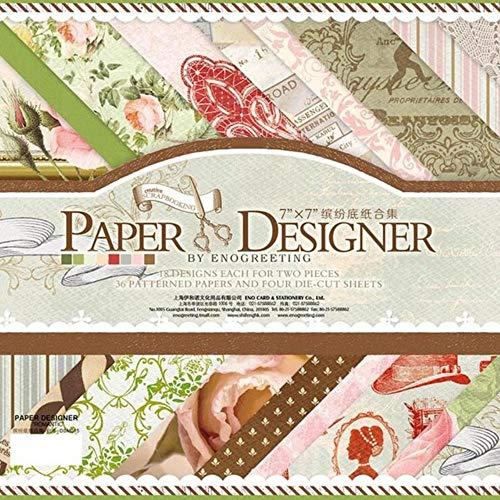 36 afgedrukt patroonpapier + 4 vellen sticker diy vintage achtergrond decoratieve scrapbooking ambachtelijke papierversiering fotoalbum, stijl 4 als foto