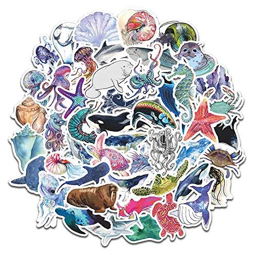 PMSMT 50 Uds, Pegatina de Dibujos Animados de Vida Marina Azul, Divertida para Funda, monopatín, Guitarra, decoración DIY, Equipaje, calcomanía para Ordenador portátil, Pegatinas de Juguete F5