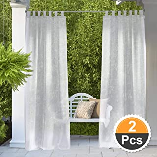 RYB HOME Outdoor Sheer Curtains - Outdoor Deck Linen Look Semitransparent Sheer, Quick Dry Indoor Outdoor Drapes for Gazebo/Patio/Balcony, Ropes Included, Wide 54 by Long 84, 2 Panels