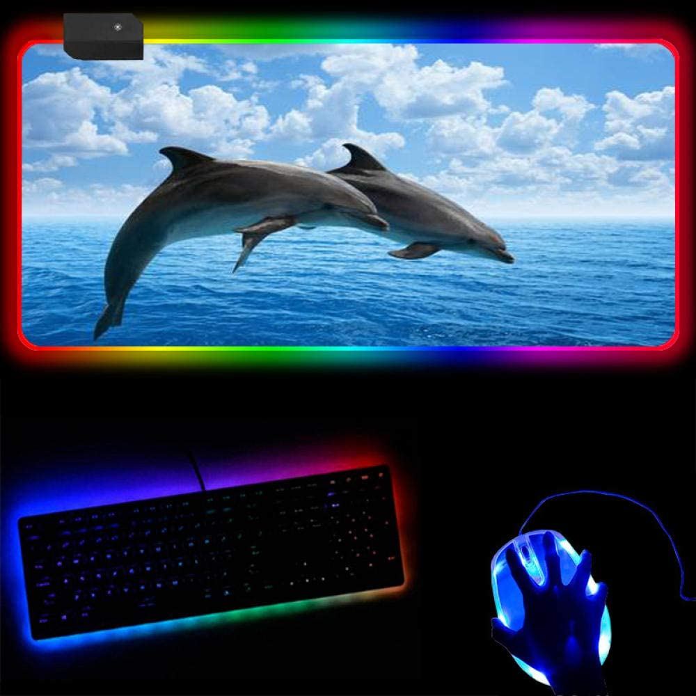 Dolphin Limited price Blue Max 86% OFF Large RGB Gaming Mouse Pad Gamer Light Mousepad LED