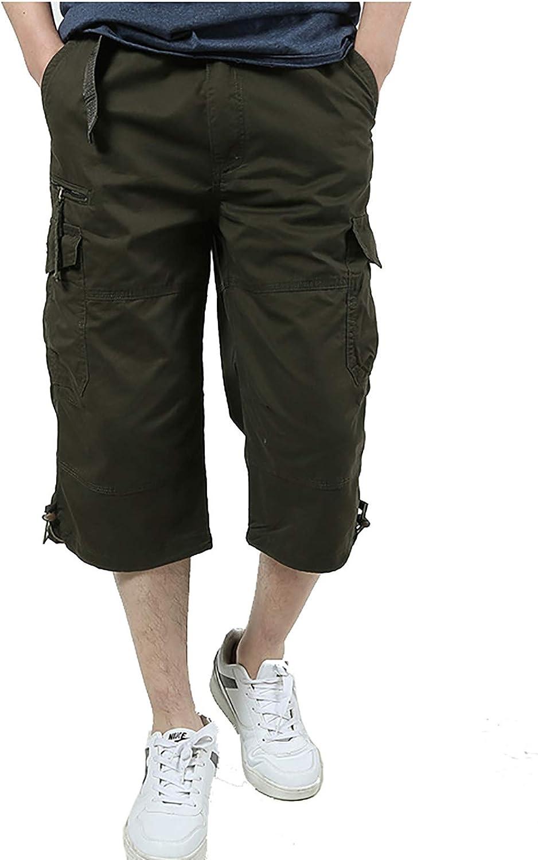 Military Ba Mens Casual Long Cargo Shorts Loose Fit Multi Pocket