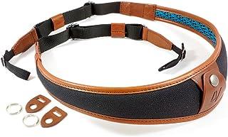 4V Design ALA Handmade Leather & Canvas Camera Strap w/Universal Fit Kit, Black/Brown (2ALLUCV0923)