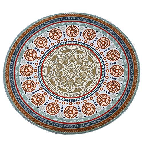 OUTGYM Mandala Runder Teppich Moderner Böhmischer Stil Einfache Reinigung Mode Bodenmatte 120 X 120 Blau für Patio Wohnzimmer