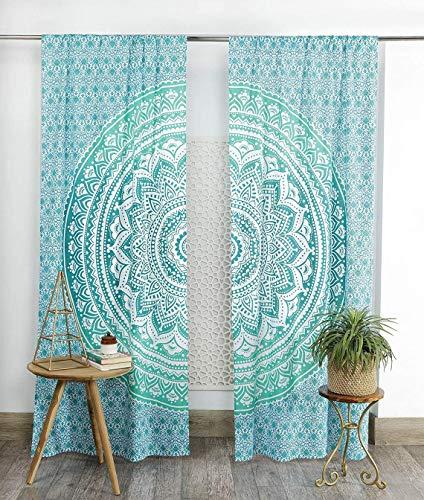 KRATI EXPORTS Bohemian Beautiful Ombre Color Mandala Curtain Panels (Green)