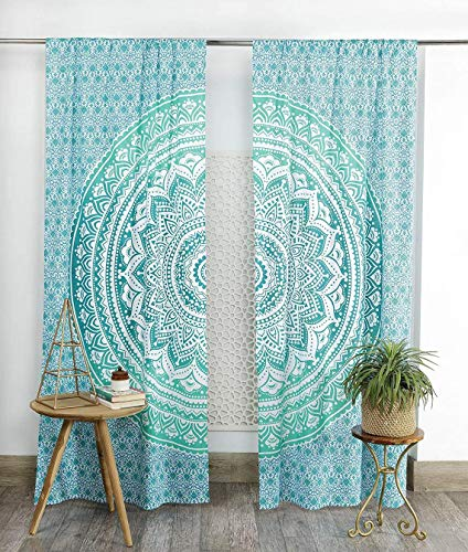 KRATI EXPORTS Bohemian Beautiful Ombre Color Mandala Curtain Panels (Green)