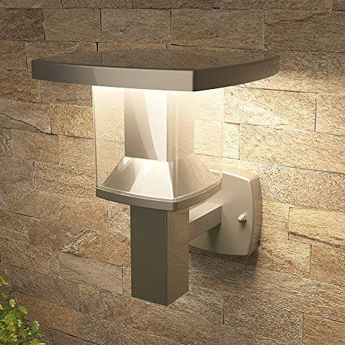 NBHANYUAN Lighting 8x7x10in LED Outdoor Wall Light Fixtures Exterior Wall Sconce Stainless Steel Silver Finish Weatherproof 3000K Warm Light Front Door Porch Light 110V 1000LM (A+)