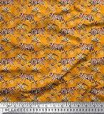 Soimoi Orange Viskose Chiffon Stoff Blätter & Tiger