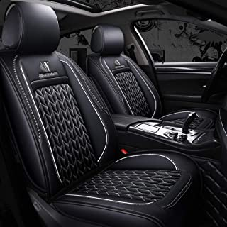 Mopow Car seat Covers Full Set 2019 New(Soft to Touch) with Universal 5-Seats Breathable Skin-Friendly Luxury PU Leather Seats Protection Mat(Black and White Line)