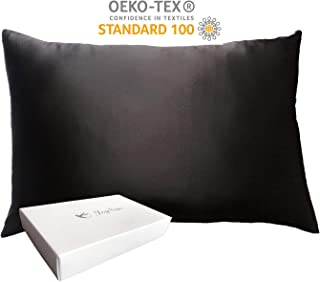JOYSUN Collection 100% Silk Pillowcase for Hair and Skin,Hypoallergenic, with Hidden Zipper,Both Side Qualified 22 Momme Silk,600 Thread Count,Gift Box 1pc (Black, Standard 20''x26'')