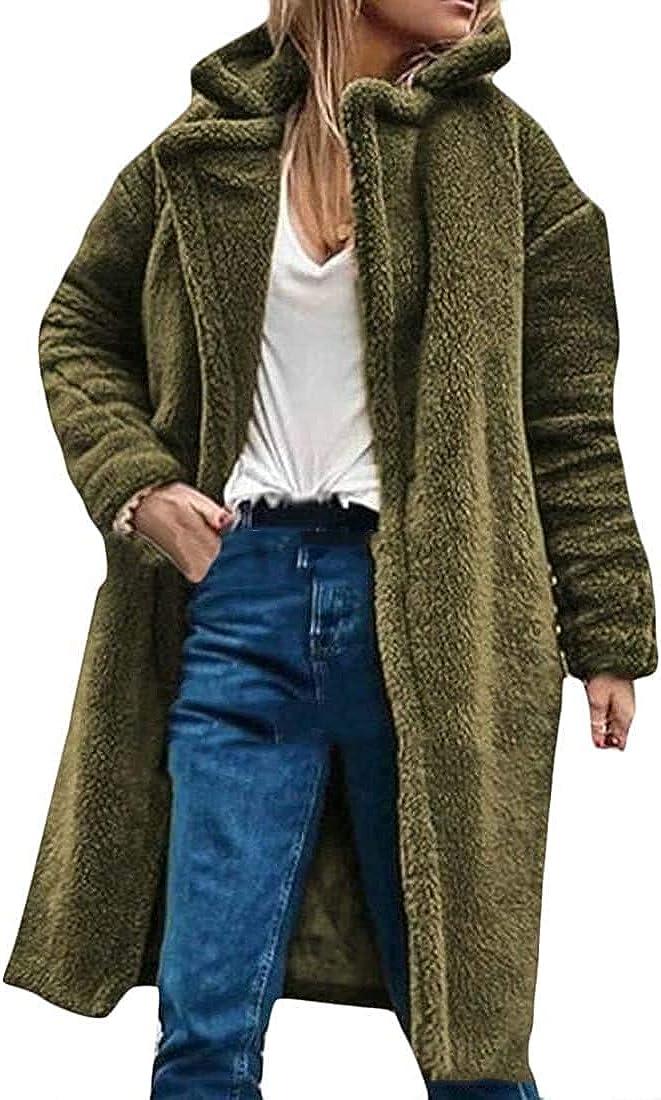 Yhsuk Women's Faux Fur Jackets Thick Loose Fluffy Lamb Wool Trench Coat Jacket Outwear