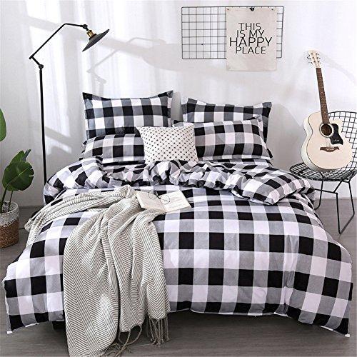 Parures de Lit Sets de Housses de Couettes 1 en 2 Personnes avec 2 Taies d'oreillers , Polyester-Coton Tartan Windowpane plaid de vichy rouge et blanc/ Bleu gris blanc/Rose et blanc/Gris fer blanc/Noir gris blanc (220x240cm, Noir gris blanc)