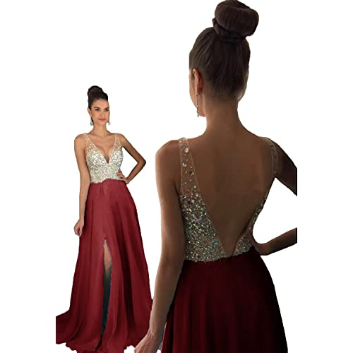 7f18f2e405ae9 HEAR Women's V Neck Long Prom Dresses Backless Party Evening Dress Hear051