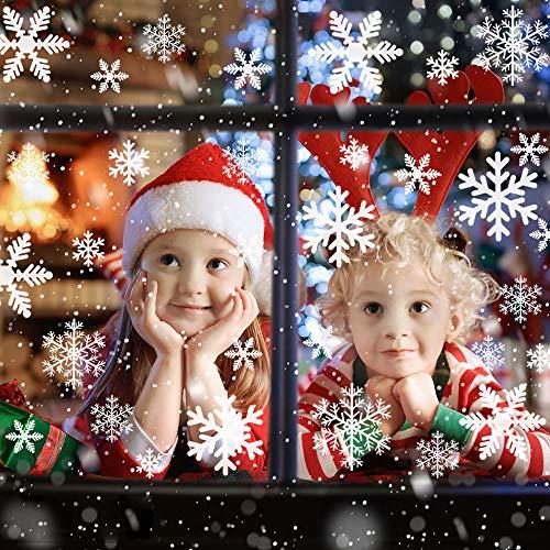 DECARETA 135 Stück Fensterdeko PVC Schneeflocken Fensterbilder Weihnachtssticker Weiß Fensteraufkleber Weihnachtsdekoration Fenster Aufkleber für Türen Schaufenster Vitrinen Glas