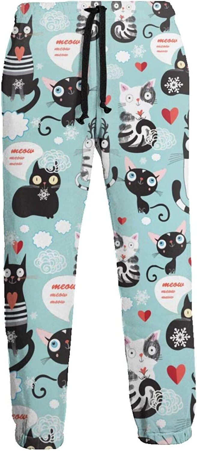 Active Sweats Jogger Pants Black Cats White Love Meow Running Joggers Casual Sweatpants for Men Women
