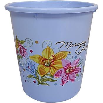 Kuber Industries Plastic Exclusive Virgin Floral Dustbin/Garbage Bin, 5 Litre, Blue-CTKTC21370
