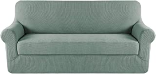 Best H.VERSAILTEX Stretch Sofa Covers 2 Piece for 3 Cushion Large Couch Covers Sofa Slipcovers Furniture Covers (Base Cover & Seat Cushion Cover) Feature Deluxe Textured Jacquard (XL Sofa, Sage) Review