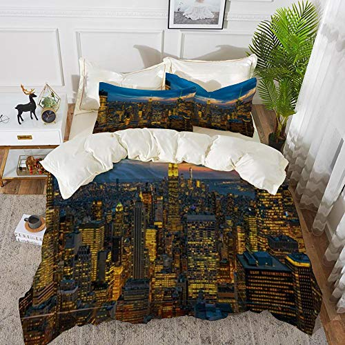 Duvet Cover Set, Bed Sheets, Travel Top Scene NYC Rock New State Metropolis York City Cityscape Design Panorama Skyline Bridge,Microfibre Duvet Cover Set 200 x 200 cmwith 2 Pillowcase 50 X 80cm