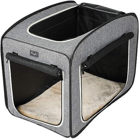 Petsfit ペットハウス 折りたたみ ペットソフトケージ 小中大型犬 猫 小動物 ポータブルケージ 屋内屋外用 アウトドア 旅行 外泊 車用 ペット 持ち手付き【折りたたみ簡単!急な来客時やアウトドアに】