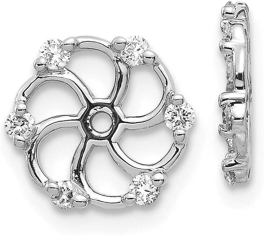 FB Jewels 14k White Gold AA Diamond Earring Jacket