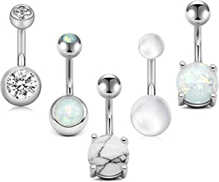 """MODRSA Belly Button Rings Surgical Stainless Steel 14G CZ Navel Belly Ring 3/8"""" 10mm Piercing Barbell Body Jewelry Rose Gold Silver"""
