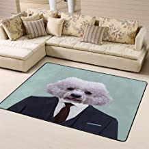 Sports Area Rug Doormat Bichon Frise Dog Animal Dressed Up in Navy Blue Suit with Red Tie Business Mannon-Slip for Living Dining Dorm Room Bedroom 60