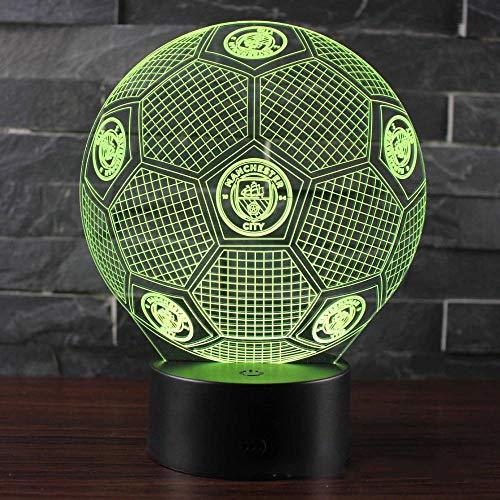 Preisvergleich Produktbild XHYYD 3D Nachtlicht Tischleuchte 16 Farben berühren und Fernbedienung Geschenkbox,  Sport Logo Fußball,  Lampe LED Nachtlicht ändern Babyschlaf Tischtischlampe Home Decor Urlaub Kinder Neujahr Weihnacht