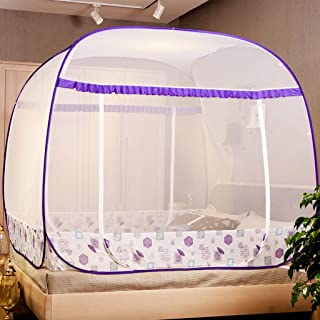 ZYJ-WZ Home Textile Mosquito Net Household Three Door Encryption 1.5 M 1.8 M Bed Mosquito Net 200220cm Full Bottom (Color : Purple, Size : 180200cm)