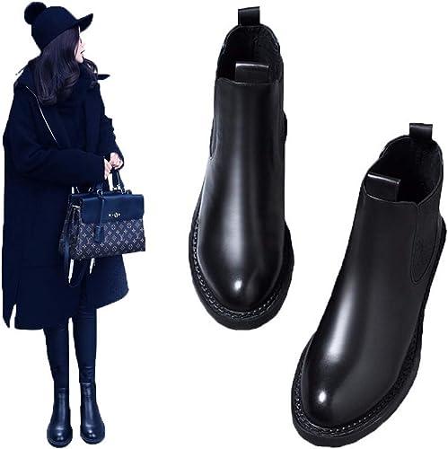 HBDLH Chaussures pour Femmes Bref Les Bottes Les Femmes à Fond Plat Chelsea Bottes Martin bottes épais Bas De 3 Cm