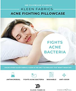 Kleen Fabrics Acne Fighting Antimicrobial Pillowcase with PurThread Silver Technology, White, 1 Standard Pillowcase