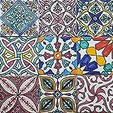 Casa Moro Orientalische Fliesen Bunt Mix 10x10 cm 9er Packung handbemalte marokkanische Fliesen Patchwork Kunsthandwerk aus Marokko Wandfliesen für schöne Küche Dusche Badezimmer | HBF8410