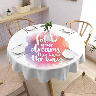 VICWOWONE Round Tablecloth Personality Motivational for Friends Quote About Finding Your Way in Life Modern Letters Watercolor Splash Diameter 67
