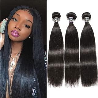 9A Malaysian Straight Virgin Human Hair 3 Bundles (16 18 20,300g) 100% Unprocessed 1B Color Malaysian Straight Hair Weave Bundles Remy Straight Human Hair Extensions