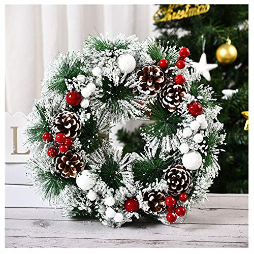 Christmas Door Wreath 12.64' Pine Artificial Christmas Wreath Christmas Christmas Front Door Hanging Wreath Garland Wreath Decoration with Wintry Pine, Berries and Pinecones, Cotton Ball (D)