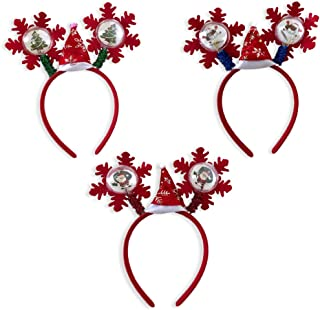 Christmas Headbands - Set of 3 Light Up Holiday Head Wear - Assorted Styles - Christmas Hair Accessories