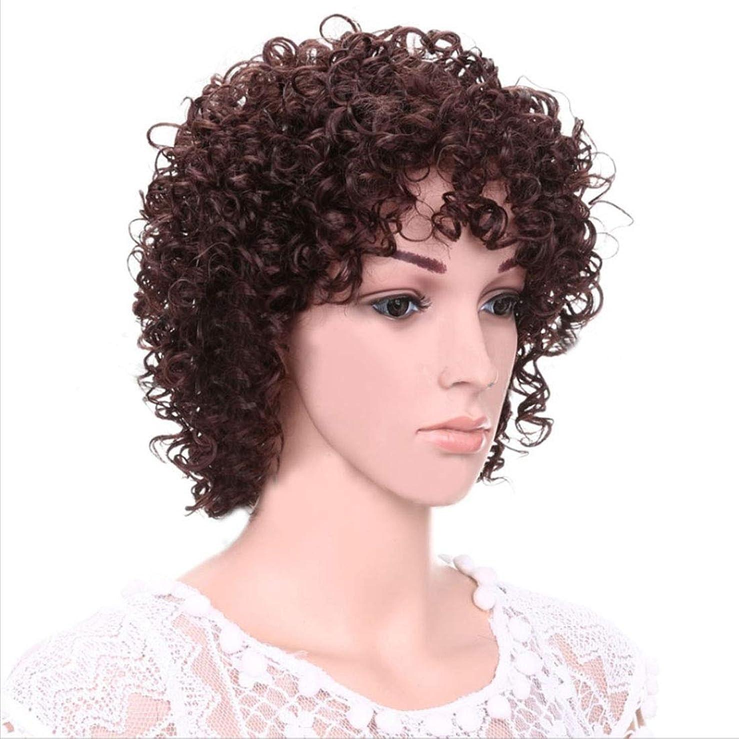 インドピット廃棄Doyvanntgo 女性のためのふわふわと小さなウィッグ女性のための短いカーリーヘアバングズの髪の女性のかつらのためのヘアナチュラルカラーフルヘッドウィッグ12インチ/ 8インチ(ブラック、ダークブラウン) (Color : Dark brown)