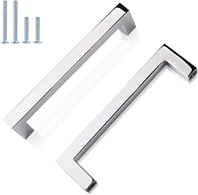 Gobekor 5 Pack Polished Chrome Cabinet Pulls Solid Drawer Pulls 3 3 4in 96mm Hole Centers Square Bar Kitchen Cupboard Handles Cabinet Hardware Amazon Com