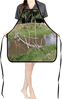 Jiahong Pan BBQ Apron Bamboo Bridge Cross The smriver for Delicious Barbecue Grill KitchenK17.7xG26.6xB9