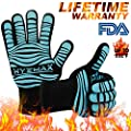 HYEMAX BBQ Grill Gloves Extreme Heat Resistant Oven Gloves for Cooking,Flexible Safe Oven Mitts for Grilling AC2117