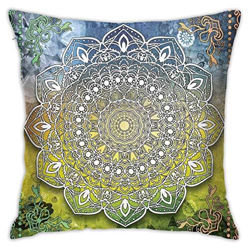 Home Funda de almohada étnica mística asiática Mandala Zen Culture Chakra Karma Calmness and Harmony Icon Boho Design Multicolor Decor Funda de cojín con 45,7 x 45,7 cm